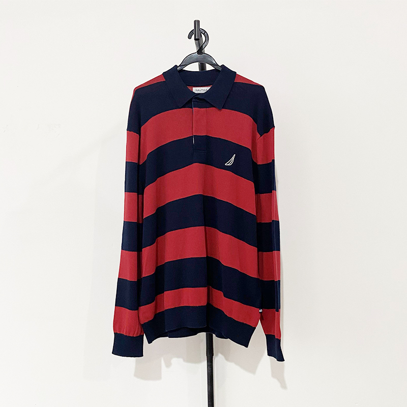 Na youth relaxed fashion versatile stripe polo collar embroidery half cardigan all cotton casual mens long sleeve sweater