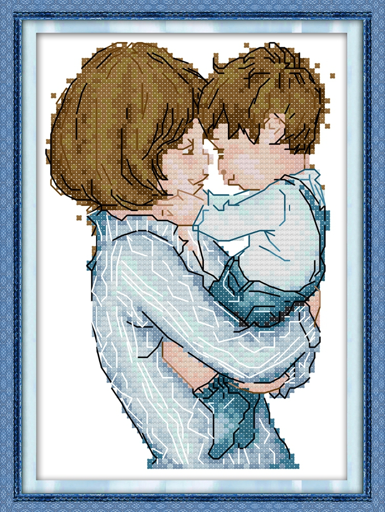 Small cross stitch with mother and son prints, new line embroidery handicrafts, small mother and son love mother and baby