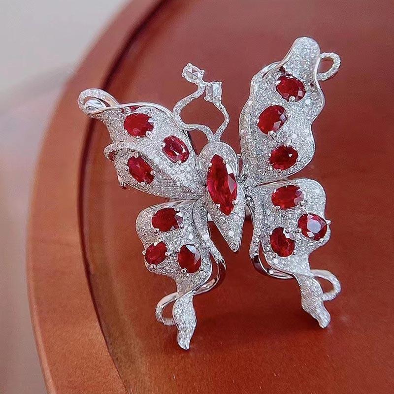 蝴蝶结胸针戒指双用宝石彩宝钻石黄金镶嵌饰品国际手饰首饰指环