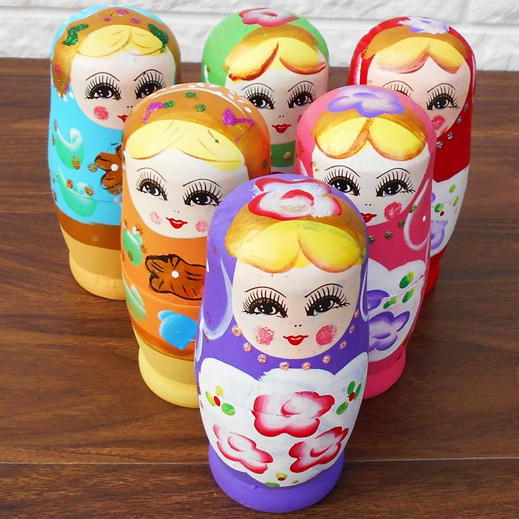 木制彩色套娃娃俄罗斯套娃5层儿童益智力玩具手绘手工品礼物摆件