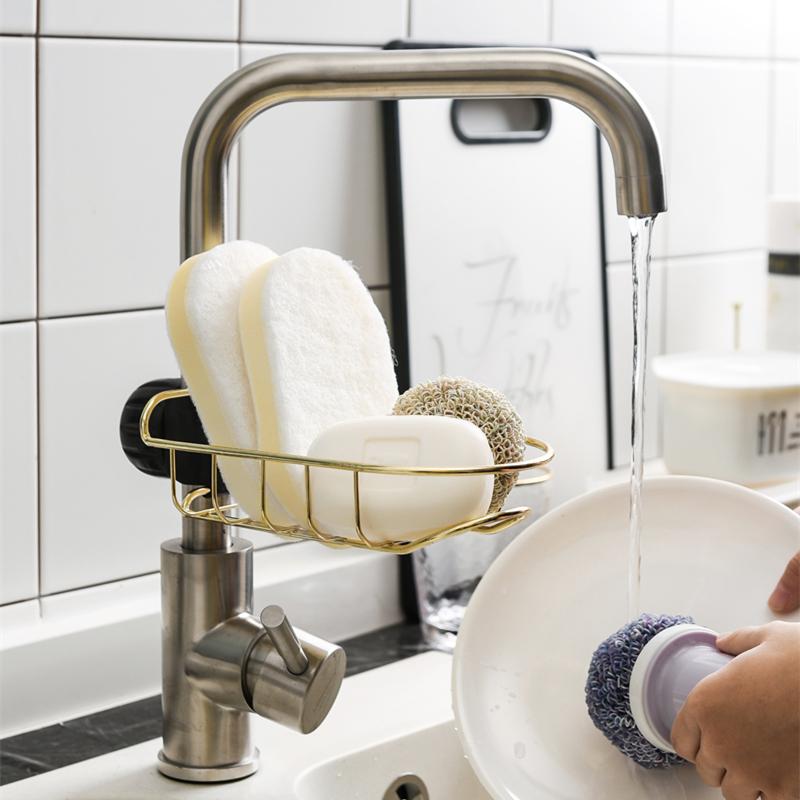 水槽沥水置物架水龙头海绵水池挂篮沥水架厨房洗碗布水池收纳架热销79件有赠品