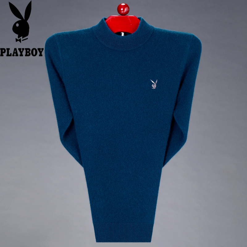Playboy autumn and winter thickened pure color sweater mens half high collar young and middle aged warm sweater cashmere sweater