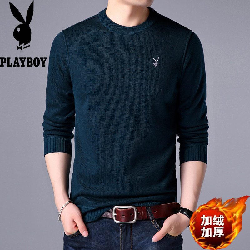 Playboy mens round neck sweater with cashmere thickened cashmere sweater for middle-aged and young people