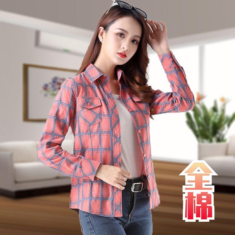 韩版春秋新款格子衬衫长袖打底衫