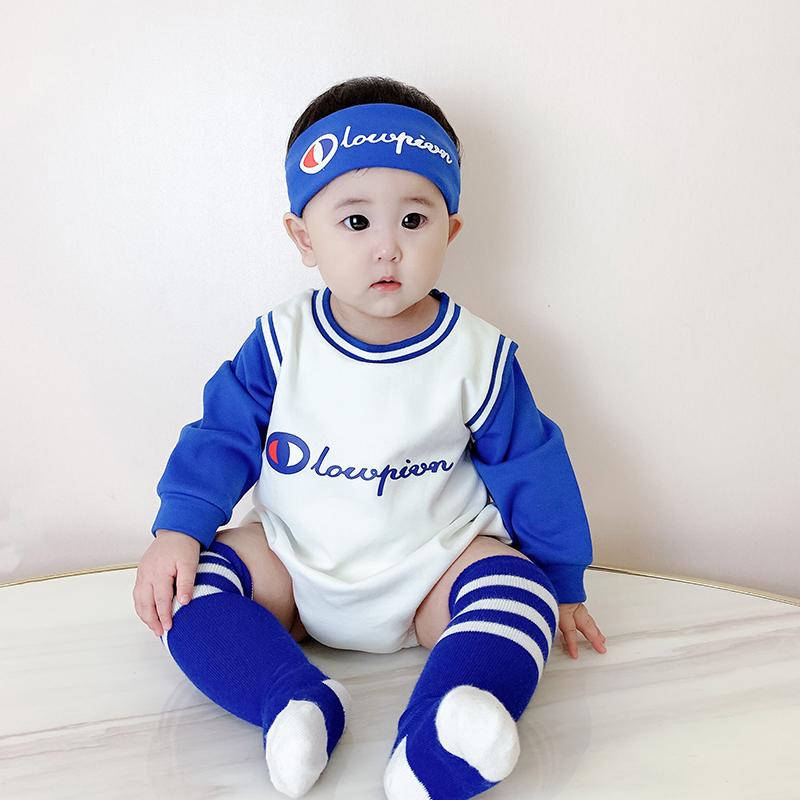 婴幼儿棒球服夏季纯棉拍照运动哈衣