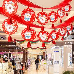 圣诞节装饰品场景布置小挂件吊饰波浪旗挂旗拉花彩条彩带花环元旦
