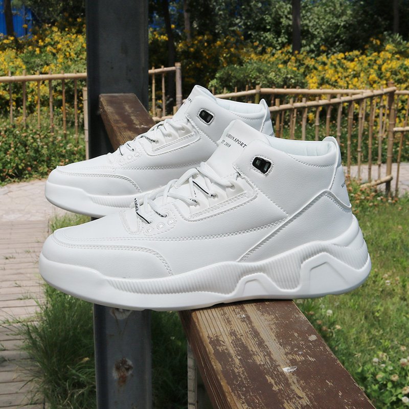 2020 new high top shoes mens thick sole casual small white shoes Korean soft bottom hip hop shoes student sports board shoes