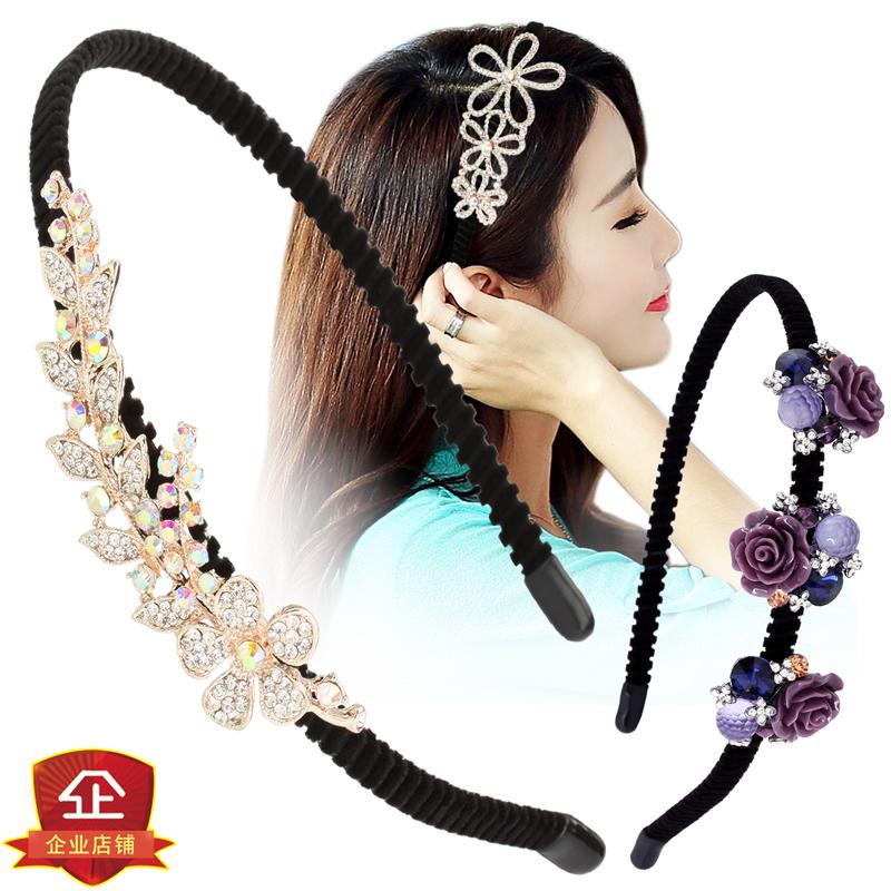 Headdress headband Korean headband water drill hairband hairpin band teeth simple Japanese and Korean sweet versatile