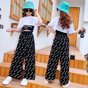 爵士舞服装女童韩版漏脐夏季嘻哈儿童街舞套装女孩模特走秀演出服