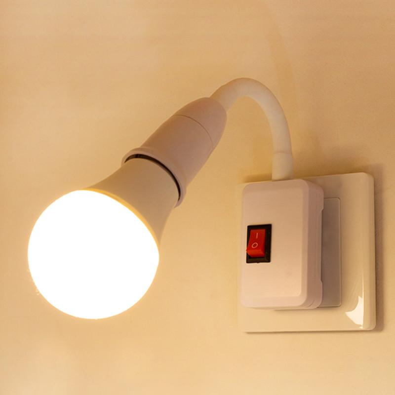 超亮家用LED卧室床头E27螺口直插式带插头插座墙壁台灯喂奶小夜灯