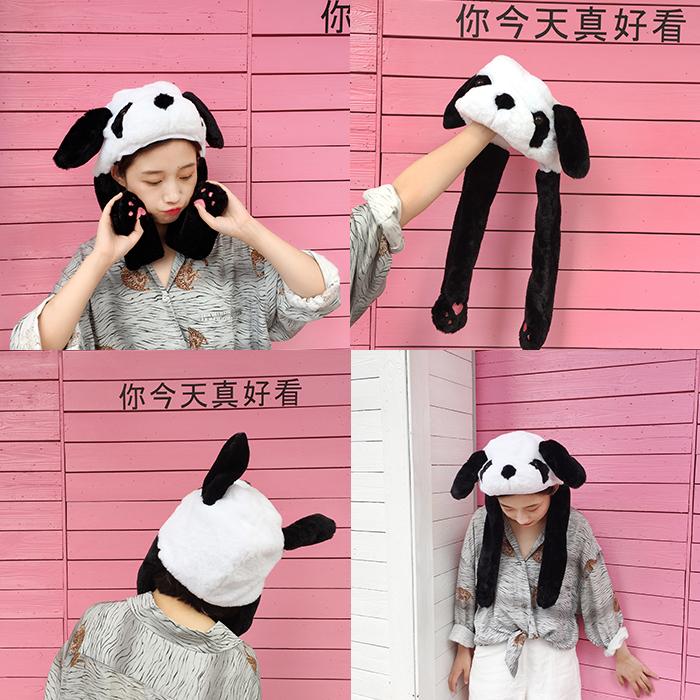 日系卡通创意抖音少女自拍熊猫头套网红甜美捏耳朵气囊帽软妹头套