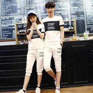 2018新款夏季情侣装休闲运动套装两件套装?#20449;?#30701;袖韩版修身#3922#