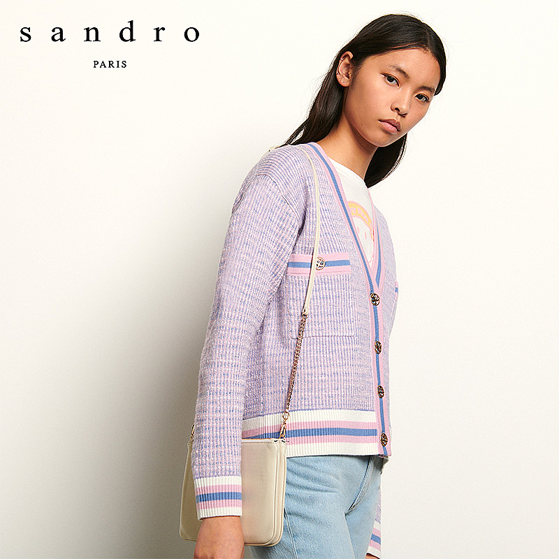 Sandro 2020 spring summer new women's blue powder color soft and fresh Knitted Top sfpca00208