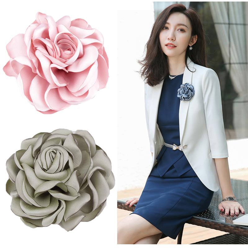 韩国布艺花朵胸针大号胸花奢华气质别针扣礼服西装外套装配饰品女
