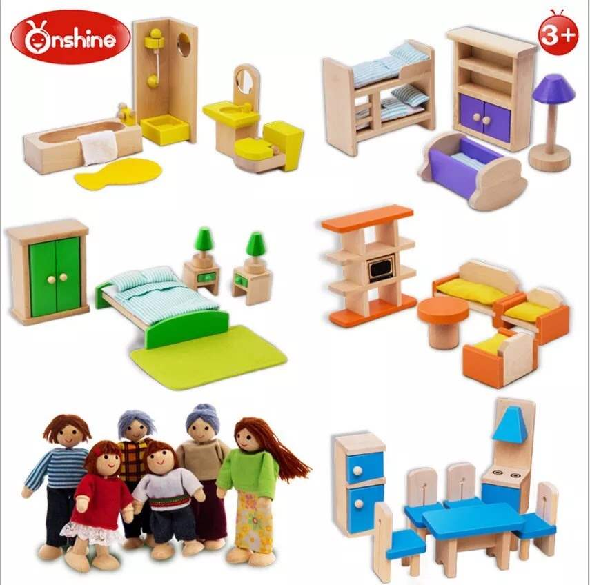New wooden simulation small furniture family toy house role play house accessories 3-year-old female