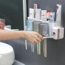 双人多功能杯架免打孔牙膏牙刷置物架卫浴创意收纳架杯子漱口杯洗