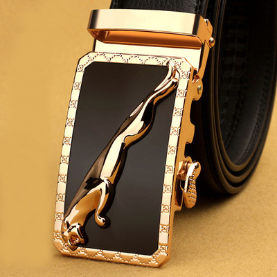 Mens leather belt leather youth Korean version automatic buckle Jaguar belt middle aged business pure cowhide youth belt leisure