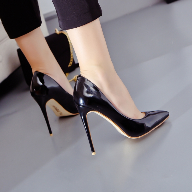 2019 new pointed super high heels slim heels light black single shoes 8cm10cm112cm nude womens banquet shoes