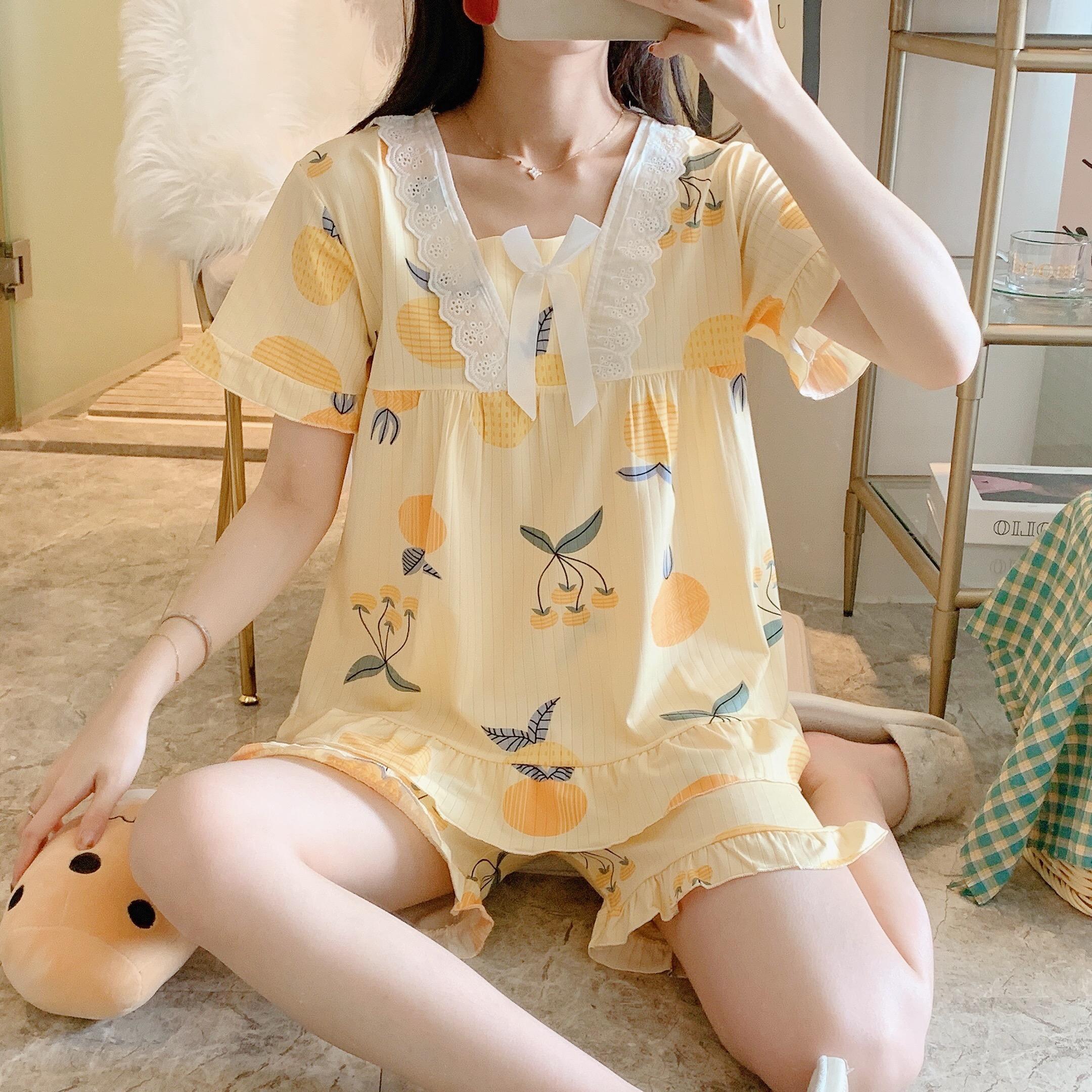 夏季短袖纯棉睡衣女两件套可爱甜美公主风菠萝学生休闲薄款家居服