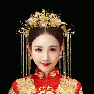 滿淘秀禾新娘中式古裝頭飾金色流蘇步搖鳳冠秀禾服古風飾品女髮飾