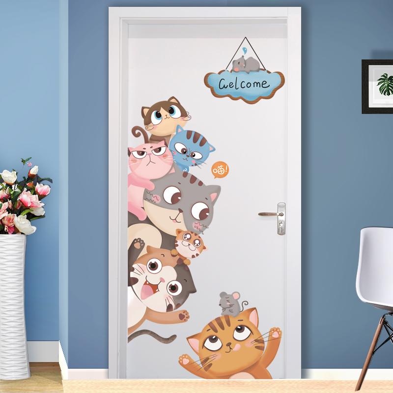 卡通儿童房卧室墙壁装饰ins房门贴3D立体墙纸自粘房间墙贴画贴纸