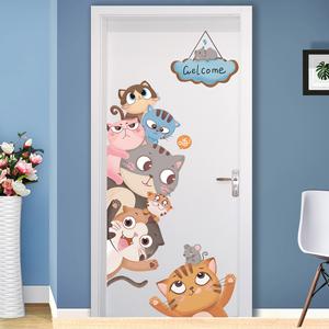 领3元券购买卡通儿童房卧室装饰ins房门贴3D立体墙纸自粘房间墙贴画墙面贴纸
