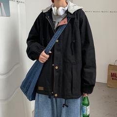 港风新款男外套连帽男休闲长袖拉链多口袋夹克 JK920-P75