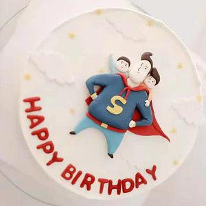 超人老爸蛋糕装饰软陶爸爸父亲节日生日网红甜品派对字母硅胶模具