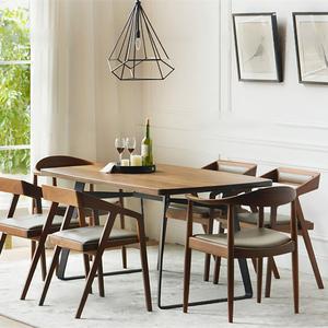 美式loft餐桌椅组合电脑桌办公桌长条桌实木会议桌长桌工作台