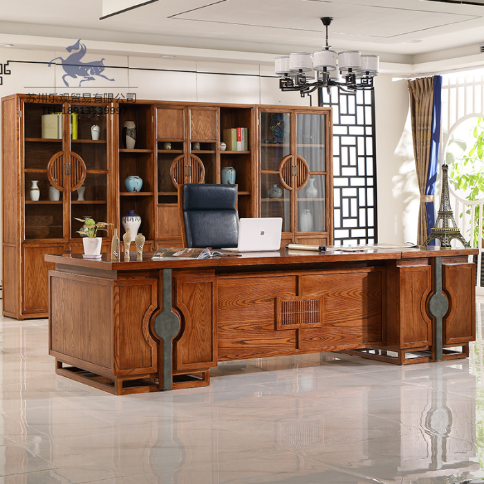New Chinese style solid wood office table walnut president big class table Zen atmosphere boss table engineering Furniture Customization
