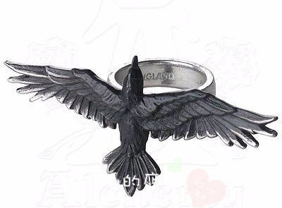 American buy Gothic Ring Black handspan ring flying crow for men and women creative ring
