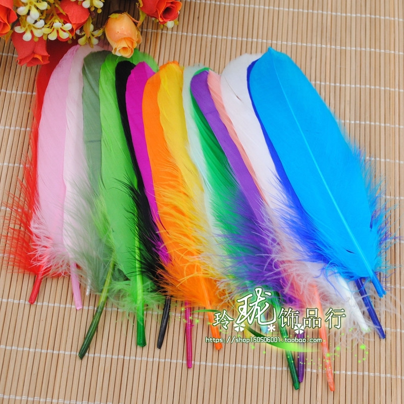 50 diy hand-colored feather accessories feather floating goose feather hat 15-20cm large clothing accessories accessories