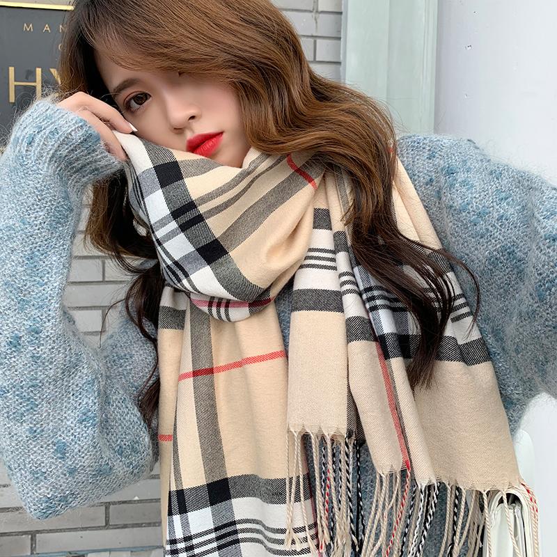 Classic Plaid Scarf womens winter Korean version versatile British students lovely girl imitation cashmere shawl autumn net red