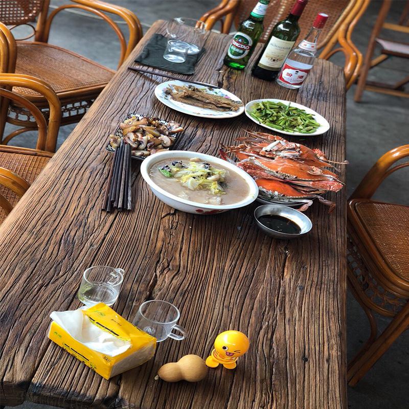 老榆木门板旧木头实木复古怀旧风化木板原木老门板茶桌茶台吧台板