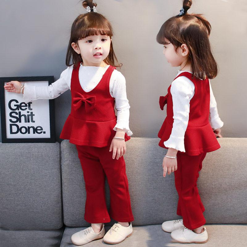 新款女童秋季套装新款韩版小童春装公主马甲童装女宝宝三件套