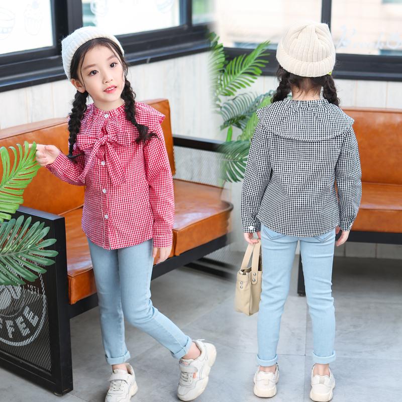 女童春秋装2019新款童装长袖衬衫韩版中大童洋气格子衬衣儿童上衣
