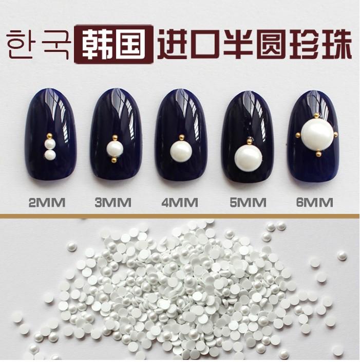 韩国进口美甲饰品小配件纯白色平底半圆珍珠全尺寸不掉 色珍珠