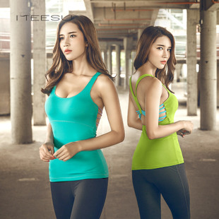 Mei Su spring and summer yoga clothing fitness vest with a chest pad sexy high-elastic quick-drying running shirt female T067