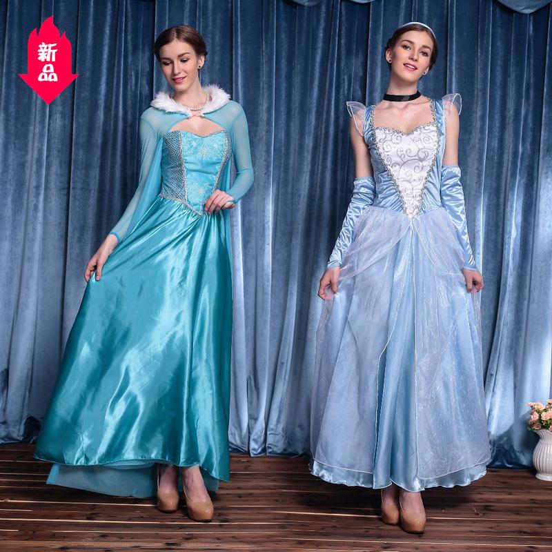万圣节服装 童话灰姑娘演出服cosplay成人爱莎白雪公主裙角色扮演