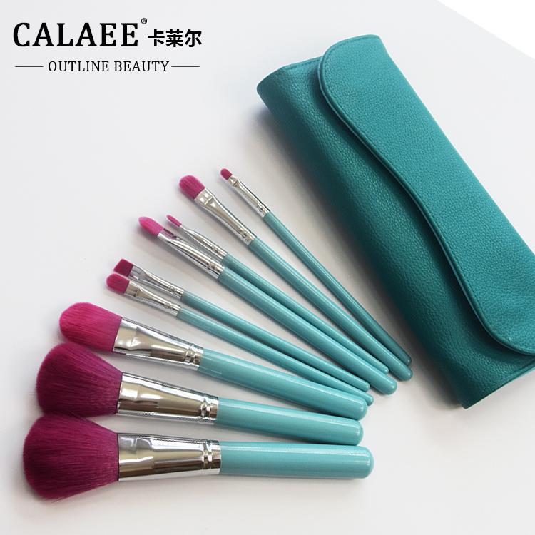 Calaee 9 штук макияжа кисти кисти установить портативный фундамент кисти тени для век кисти кисти для макияжа с кистью пакет для начинающих