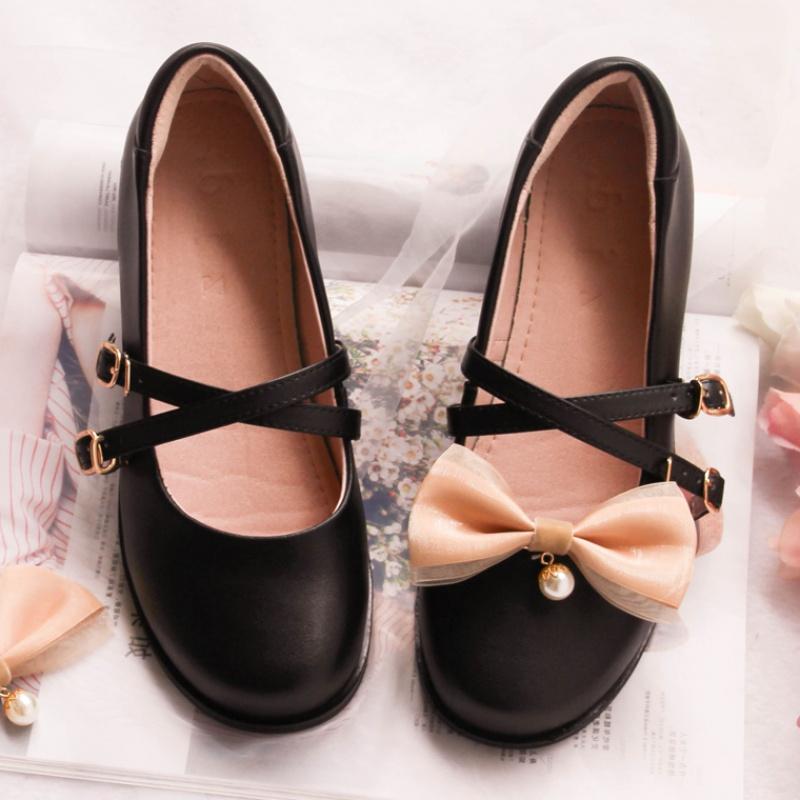 代购软妹小皮鞋女浅口一字扣玛丽珍鞋可爱蝴蝶结洛丽塔鞋学