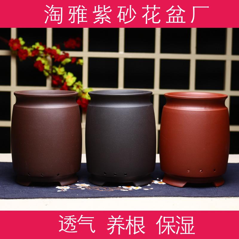 紫砂兰花盆君子兰高档陶瓷大号素面景观桌面花瓶老桩特价托盘包邮