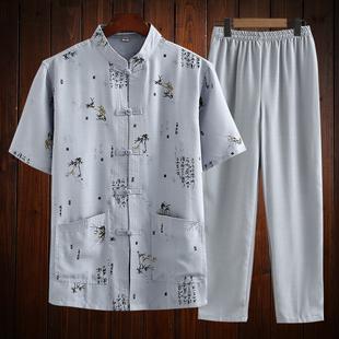 中国风唐装短袖男套装中老年人薄款棉麻爸爸夏装爷爷老人亚麻衣服