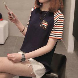 2020春夏装新款韩版宽松短袖t恤女大码女装胖妹妹打底衫遮肚上衣图片