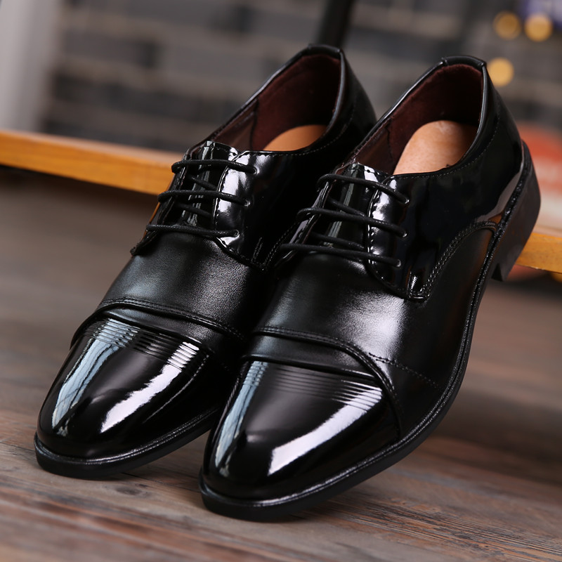 Mens business wedding photography grooms wedding shoes mens black pointed studio photography performance hotel work shoes