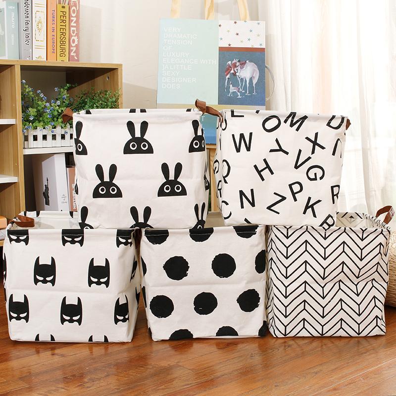 北欧棉麻防水脏衣篮卡通可折叠收纳篮宿舍内衣盒玩具收纳箱ins风