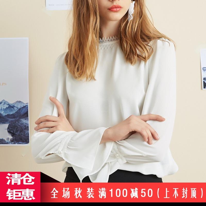 【秋二波】折扣女装2018新款秋8F3245甜美素雅学院风百搭雪纺衫