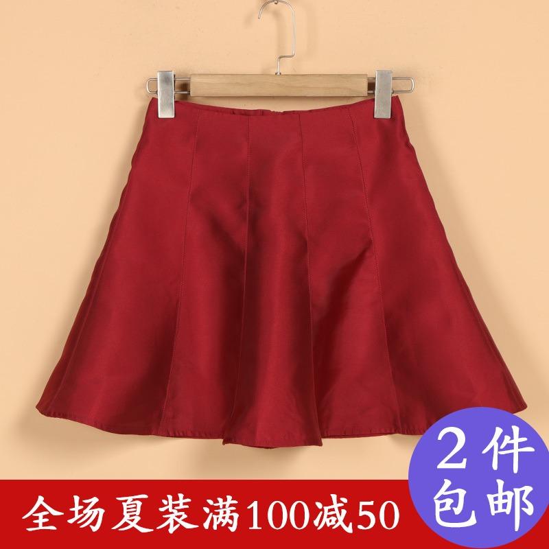 【朗】品牌折扣女装2018新款夏8X2012韩范修身收腰A字形百搭短裙