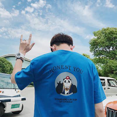 2018港风日系店主情侣清新熊猫印花短袖圆领T恤 B211-1217-P35