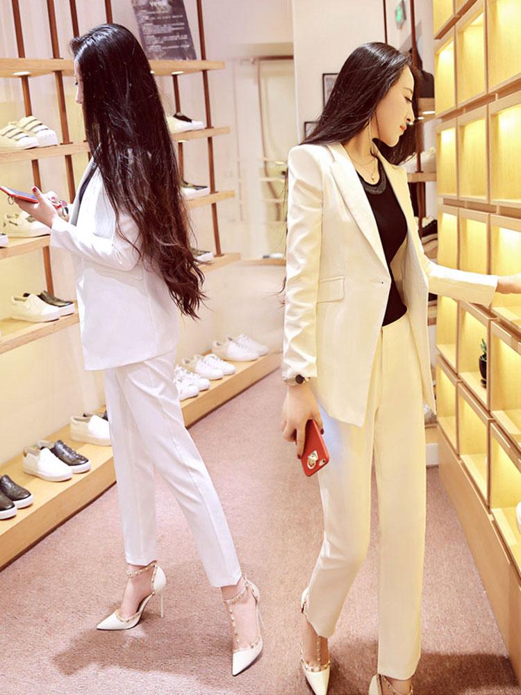20新品白色西装套装女气质韩版时尚休闲职业装正装两件套小西服